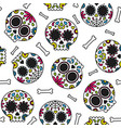 sugar skull day of the dead cute seamless pattern vector image
