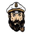 tattoo concept bearded sea captain vector image