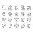 tea simple black line icons set vector image