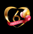 template gold logo 6 years anniversary with ribbon vector image vector image