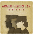 three uniformed soldiers on vintage background vector image