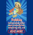 trekking concept banner comics isometric style vector image