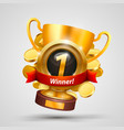 winner cup number one with a win vector image vector image