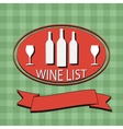 Flat Wine List Menu on striped background fabric vector image