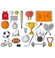 Sport items balls isolated sketch icons vector image