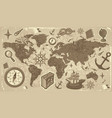 World map with travel icons vector image