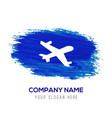 aeroplane icon - blue watercolor background vector image