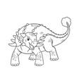 ankylosaurus cartoon bw vector image vector image