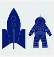 astronaut and spaceship blue icon on lined paper vector image