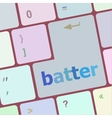 batter word on keyboard key notebook computer vector image vector image