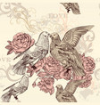 beautiful seamless floral pattern with roses dove vector image vector image