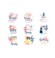 beauty salon logo design set colorful hand vector image vector image