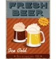 Beer retro poster vector image vector image