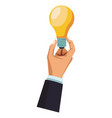 businessman hand with bulb light vector image vector image