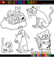 Cartoon Cats for Coloring Book or Page vector image