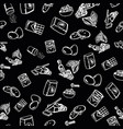 cookie ingredients pattern on black background vector image vector image