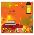 cozy autumn with plaid books and cup vector image vector image