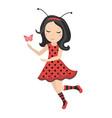 cute little girl ladybug icon in flat cartoon vector image