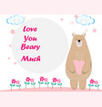 cute teddy bear cartoon birthday card vector image vector image