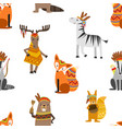 cute wild ethnic animals seamless pattern design vector image