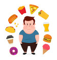 fat sad young man surrounded by unhealthy vector image