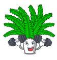 fitness fern frond frame decoration on cartoon vector image