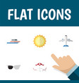 flat icon beach set of boat recliner spectacles