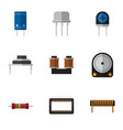 flat icon technology set of mainframe coil copper vector image vector image