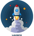 Flat Style Cartoon Rocket Launch in Space vector image vector image