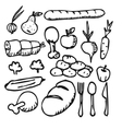 food vegetable fruit flat icon Doodle vector image