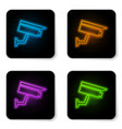 glowing neon security camera icon isolated on vector image