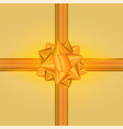 golden gift bow and ribbon glossy holiday vector image