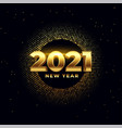 happy new year shiny golden 2021 wishes card vector image