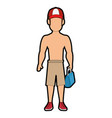 isolated standing man cartoon vector image