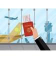 Man with passport and ticket inside of airport vector image vector image