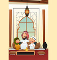 muslim arabian man with his children vector image