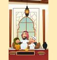 muslim arabian man with his children vector image
