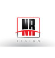 nr n r logo letters with red and black colors and vector image vector image