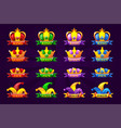 playing cards icons with crown and ribbon poker vector image vector image