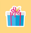 present in box decorated by yellow flower vector image vector image