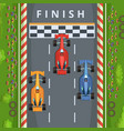 racing cars on finish line top view racing vector image vector image