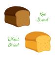 rye wheat bread whole graincartoon style vector image