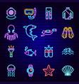 scuba diving neon icons vector image vector image