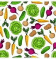 Seamless healthy farm vegetables pattern vector image vector image