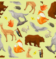Seamless pattern with woodland forest animals and vector image