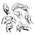 Set Hands Holding the Smart Phone vector image vector image