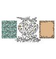 set of hand drawn doodle floral elements vector image