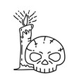 skeleton candle icon doodle hand drawn or black vector image