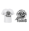 t-shirt print with tennis racket and ball vector image