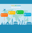 travel and tourism infographic set with landmarks vector image